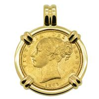 British Queen Victoria sovereign dated 1863 in 14k gold pendant.
