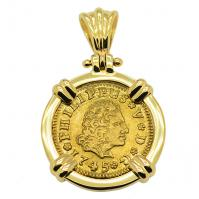 Spanish 1/2 Escudo dated 1745, in 14k gold pendant.