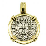 Italian 1139-1252, Crusader Cross denaro in 14k gold pendant.