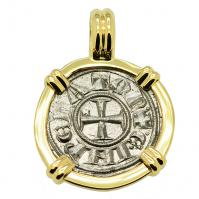 Italian 1194-1197, King Henry VI Crusader Cross denaro in 14k gold pendant.