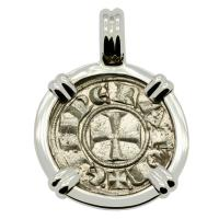 Italian 1194-1197, King Henry VI Crusader Cross denaro in 14k white gold pendant.
