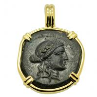 Greek 133-80 BC, God Apollo and Club bronze coin in 14k gold pendant.