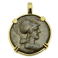 Greek 133-48 BC, Athena and eagle bronze coin in 14k gold pendant.