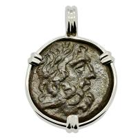 Greek 120-85 BC, Zeus and Eagle bronze coin in 14k white gold pendant.