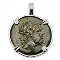 Greek 95-90 BC, Zeus and Eagle bronze coin in 14k white gold pendant.