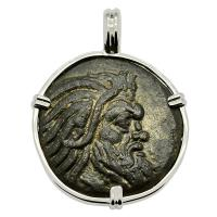 Greek 325 - 310 BC, Pan and Griffin bronze coin in 14k white gold pendant.