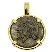 Greek 325 - 310 BC, Pan and Bull bronze coin in 14k gold pendant.