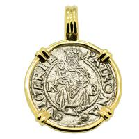 Hungarian dated 1544, Madonna and Child denar coin in 14k gold pendant.