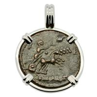 Roman Alexandria AD 337-340, Constantine the Great follis in 14k white gold pendant.