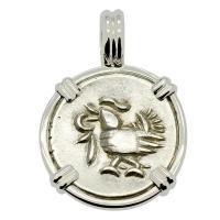 Hindu Cambodian Hamsa Bird 1 Fuang, circa 1847 in 14k white gold pendant.