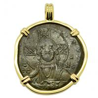 Byzantine AD 976–1025, bronze follis in 14k gold pendant.