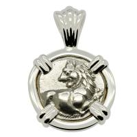 Greek 386-338 BC, lion hemidrachm in 14k white gold pendant.