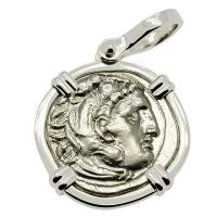 Greek 323-310 BC, Alexander the Great drachm in 14k white gold pendant.