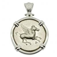 Greek 350-300 BC, Pegasus and Athena stater in 14k white gold pendant.