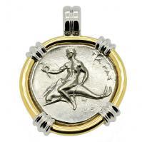 Greek - Italy 305-302 BC, Taras riding Dolphin and Horseman nomos in 14k white & yellow gold pendant.