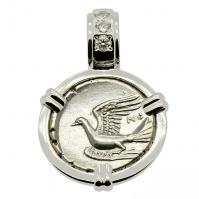 Greek 330-280 BC, Dove and Chimaera triobol in 14k white gold pendant with diamonds.