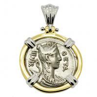 SOLD Diana Denarius Pendant. Please Explore Our Roman Pendants For Similar Items.