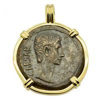 SOLD Caesar Augustus Dupondius Pendant. Please Explore Our Roman Pendants For Similar Items.