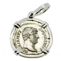 Roman Empire AD 134-138, Hadrian and Salus denarius in 14k white gold pendant.