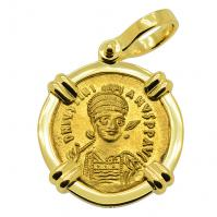 Byzantine AD 527-565, Justinian the Great gold solidus in 18k gold pendant.