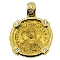 Byzantine 945-959, Jesus Christ with Constantine VII & Romanus II Solidus in 18k gold pendant with diamonds.