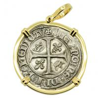 French 1389, King Charles VI Blanc Guenar in 14k gold pendant.