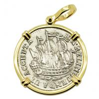Dutch 6 stuivers ship shilling, dated 1768 in 14k gold pendant.