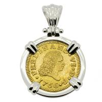 Spanish 1/2 Escudo dated 1756, in 14k white gold pendant.