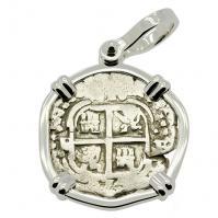 SOLD King Philip IV Spanish 1 Real Pendant. Please Explore Our Spanish Treasure Pendants For Similar Items.