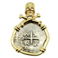 Colonial Spanish Peru, King Charles II one real dated 1685, in 14k gold skull & bones pendant.