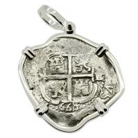 Colonial Spanish Peru, King Charles II two reales dated 1668, in 14k white gold pendant.