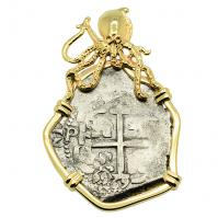 Colonial Spanish Peru, King Charles II two reales dated 1669, in 14k gold octopus pendant.