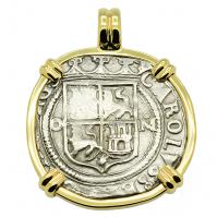 Colonial Spanish Mexico, Johanna and Charles 4 reales 1555-1571, in 14k gold pendant.