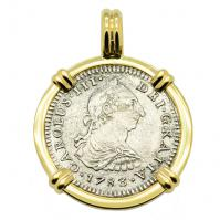 Spanish 1 real dated 1783 in 14k gold pendant, The 1784 Shipwreck that Changed America.
