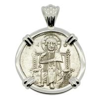Venice 1253-1268, Jesus Christ & Saint Mark grosso in 14k white gold pendant.