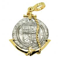 Spanish 2 reales 1542-1548 in 14k gold anchor pendant, 1550 shipwreck Northern Caribbean Sea.