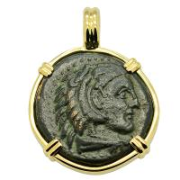 Greek 336-323 BC, Alexander the Great bronze coin in 14k gold Pendant.