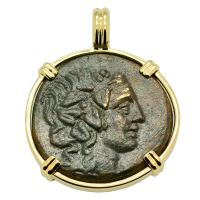 Greek 120-80 BC, God of Wine Dionysus and Cista Mystica bronze coin in 14k gold pendant.