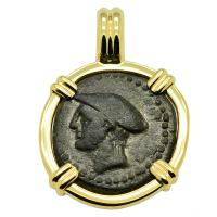 Greek 150-110 BC, Messenger of the Gods, Hermes bronze coin in 14k gold pendant.