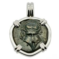 Greek 400-350 BC, Corinthian Helmet bronze coin in 14k white gold pendant.