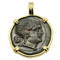 Greek 215-175 BC, Amazon warrior and Athena bronze coin in 14k gold pendant.