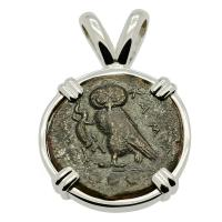 Greek Sicily 420-410 BC, Owl and Gorgon tetras in 14k white gold pendant.