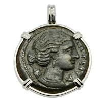 Greek Syracuse 317-289 BC, Artemis and winged lightning bolt bronze coin in 14k white gold pendant.