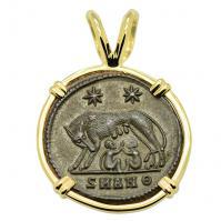 Roman Antioch AD 330 - 336, She-Wolf Suckling Twins nummus in 14k gold pendant.