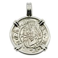Hungarian dated 1535, Madonna and Child denar coin in 14k white gold pendant.