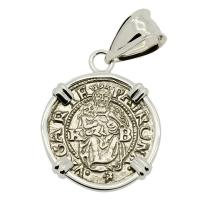 Hungarian dated 1539, Madonna and Child denar coin in 14k white gold pendant.