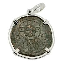 Byzantine 976-1025, bronze follis in 14k white gold pendant.