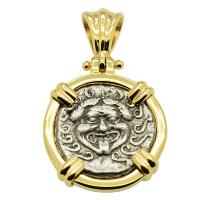 Greek 480-450 BC, Gorgon and anchor drachm in 14k gold pendant.