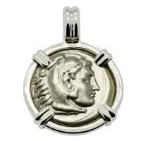 Greek 323-317 BC, Alexander the Great drachm in 14k white gold pendant.