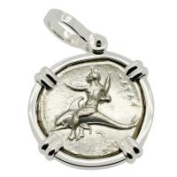 Greek Italy 332-302 BC, Taras riding Dolphin and Horseman nomos in 14k white gold pendant.